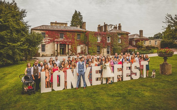 Wedding guests with Lonkerfest sign