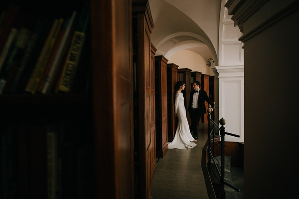 Bride and groom in Centre for the Book
