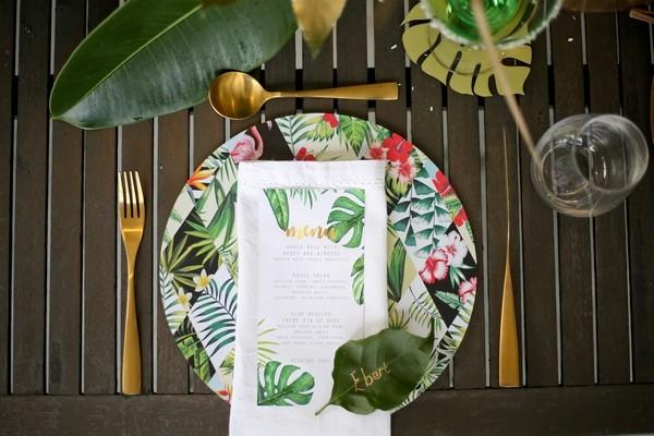 Wedding place setting with botanical wedding styling