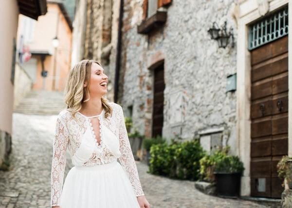 Bride in street in Lake Como