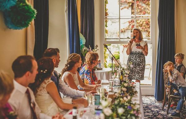 Woman giving wedding speech