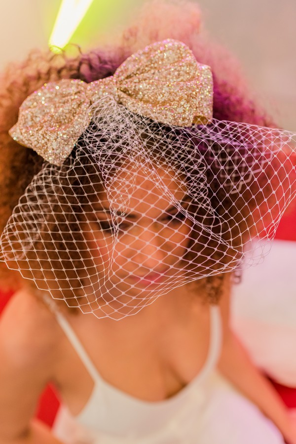 Birdcage veil with gold bow