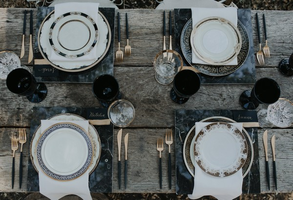 Plates on wedding table