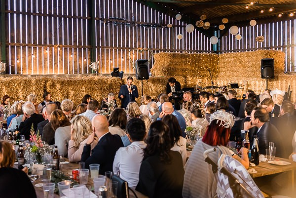 Wedding speech in cow shed