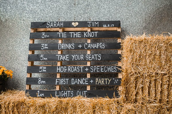 Wedding order of the day written on wooden pallet