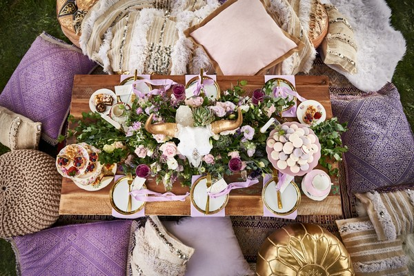 Wedding table with lavender styling details