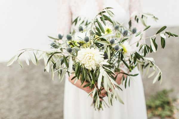 Bridal bouquet of thistles and eucalyptus