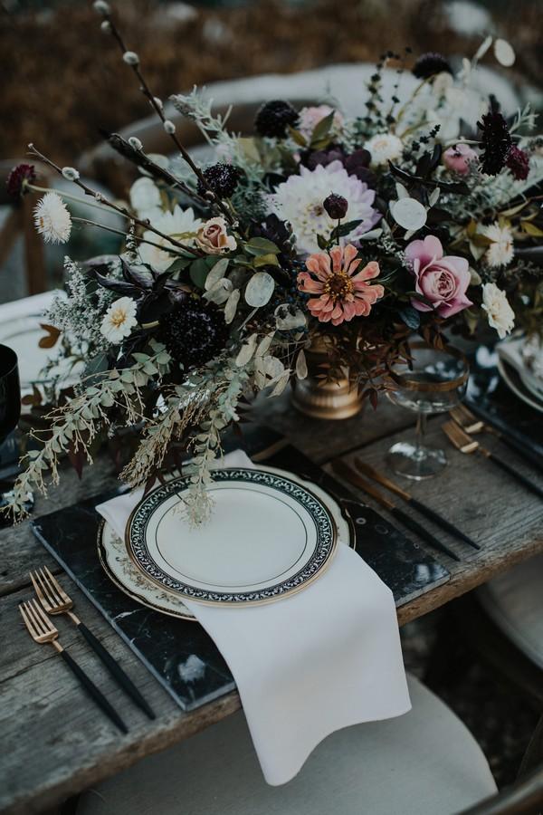 Moody autumn styled wedding place setting