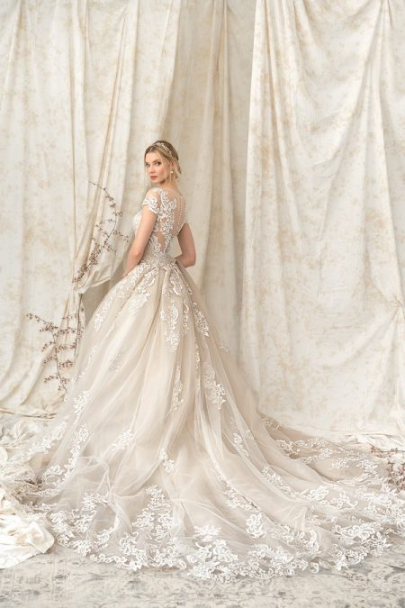 Back of 9899 Wedding Dress with Train from the Justin Alexander Signature SS18 Bridal Collection