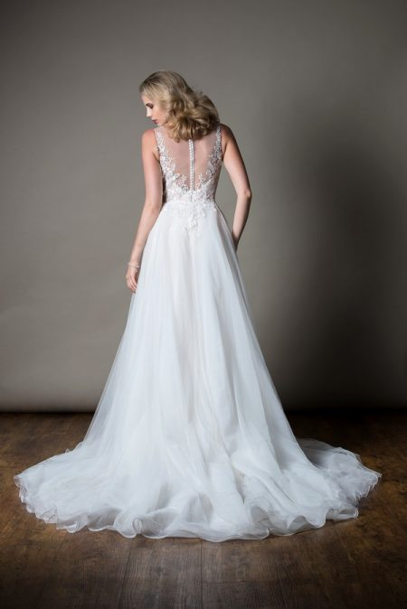 Back of Alexandra Wedding Dress with Overskirt from the MiaMia Love Letters 2018 Bridal Collection