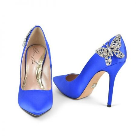 Ally Farfalla Royal Blue Satin Stiletto Bridal Shoes by Aruna Seth