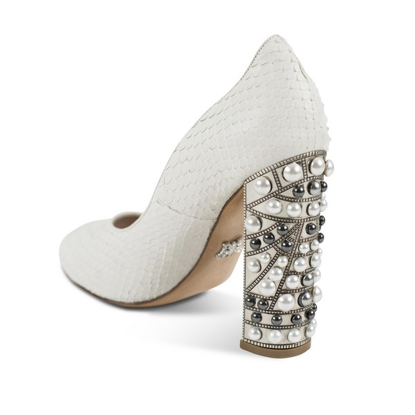 Amethyst Python Snakeskin Peep Toe Bridal Shoes from the Aruna Seth Pearls and Diamonds Collection