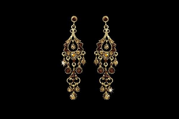 Antique Gold Topaz Earrings Autumn Bridal Accessory