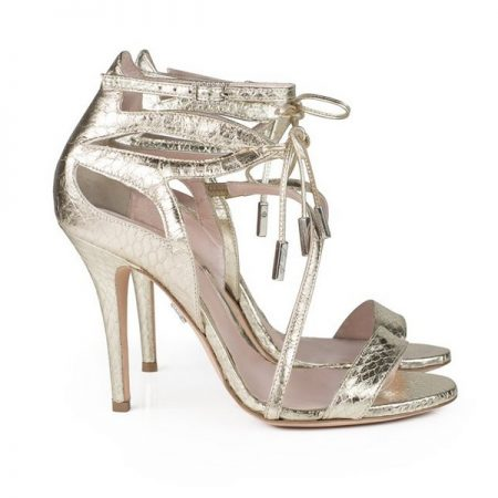 Aperto Gold Leather and Snake Bridal Shoes by Aruna Seth