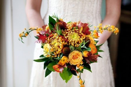 Autumn Wedding Bouquet with Chrysanthemums