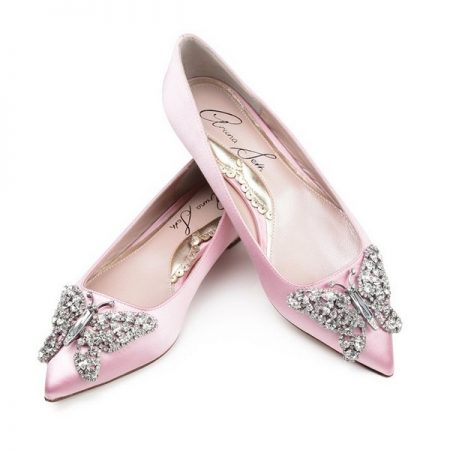 Baby Pink Satin Pointy Toe Ballerina Bridal Shoes by Aruna Seth