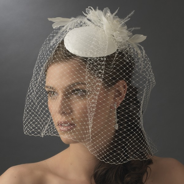 Bridal Hat with Birdcage Veil Winter Bridal Accessory