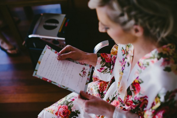 Bride Reading Wedding Day Love Letter