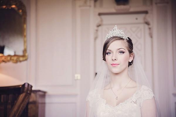 Bride Wearing Tiara with Veil