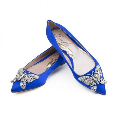 Cobalt Blue Satin Pointy Toe Ballerina Bridal Shoes by Aruna Seth