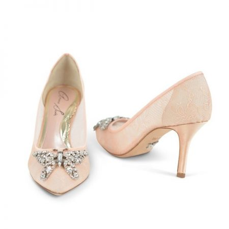 Emilia Farfalla Blush Lace Stiletto Bridal Shoes by Aruna Seth