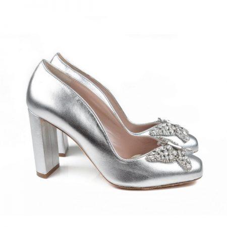 Erminia Farfalla Silver Leather Block Heel Bridal Shoes by Aruna Seth