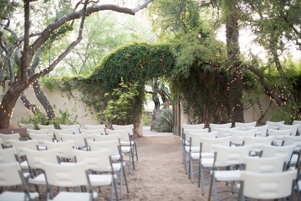 Fairy Lights On Trees At Wedding