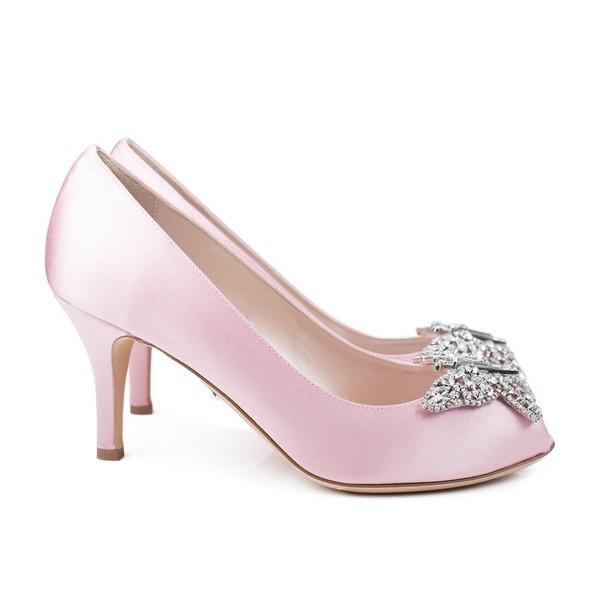 Farfalla Baby Pink Satin Open Toe Low Heel Bridal Shoes by Aruna Seth
