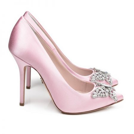 Farfalla Baby Pink Satin Pointy Toe Bridal Shoes by Aruna Seth