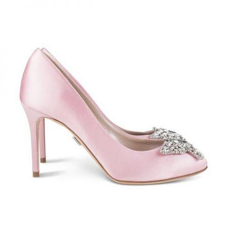 Farfalla Baby Pink Satin Round Toe Bridal Shoes by Aruna Seth