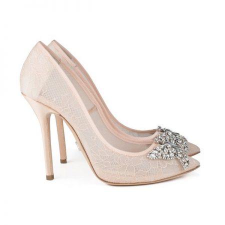 Farfalla Blush Lace Pointy Toe Bridal Shoes by Aruna Seth