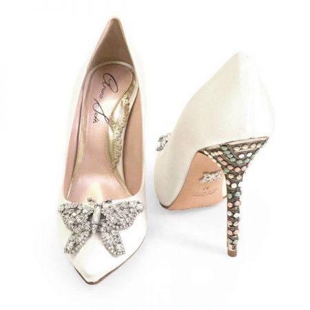 Farfalla Candy Cane Pointy Toe Bridal Shoes by Aruna Seth