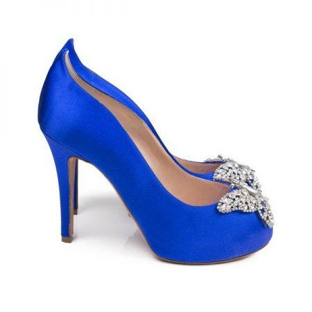 Farfalla Cobalt Blue Satin Open Toe Bridal Shoes by Aruna Seth