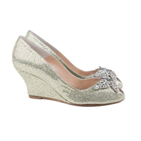 Farfalla Gold Mesh Wedges Bridal Shoes by Aruna Seth