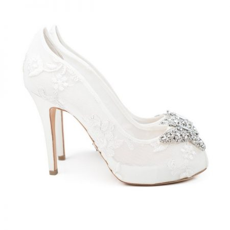 Farfalla Ivory Lace Open Toe Bridal Shoes by Aruna Seth