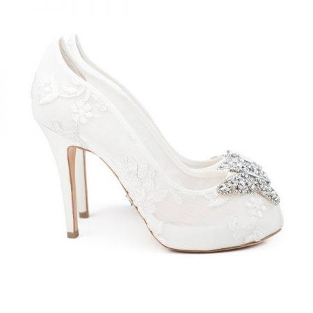 Farfalla Ivory Lace Open Toe Bridal Shoes by Aruna Seth