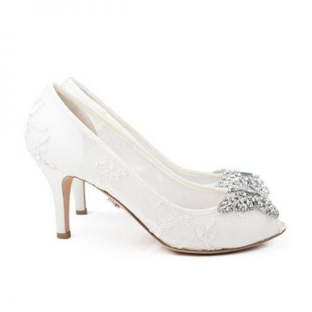 Farfalla Ivory Lace Open Toe Low Heel Bridal Shoes by Aruna Seth