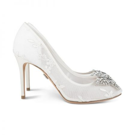 Farfalla Ivory Lace Round Toe Bridal Shoes by Aruna Seth