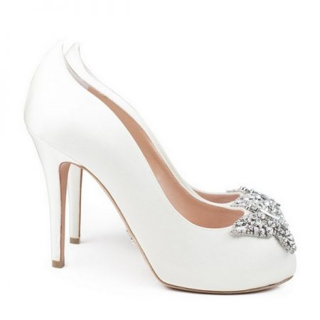 Farfalla Ivory Satin Open Toe Bridal Shoes by Aruna Seth