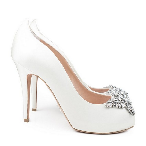 Farfalla Ivory Satin Open Toe Bridal Shoes by Aruna Seth