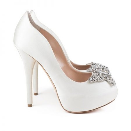 Farfalla Ivory Satin Platform Bridal Shoes by Aruna Seth