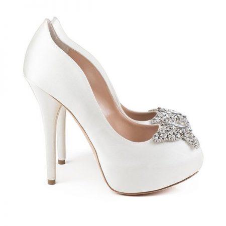 Farfalla Ivory Satin Platform Bridal Shoes by Aruna Seth