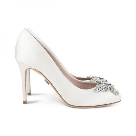 Farfalla Ivory Satin Round Toe Bridal Shoes by Aruna Seth