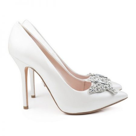 Farfalla Pearlised Ivory Leather Pointy Toe Bridal Shoes by Aruna Seth