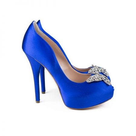 Farfalla Royal Blue Satin Platform Bridal Shoes by Aruna Seth