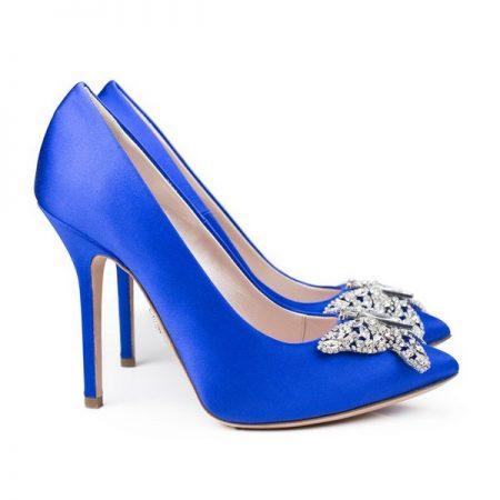 Farfalla Royal Blue Satin Pointy Toe Bridal Shoes by Aruna Seth