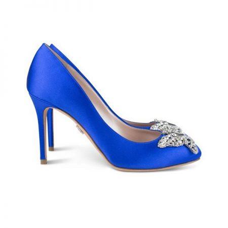 Farfalla Royal Blue Satin Round Toe Bridal Shoes by Aruna Seth