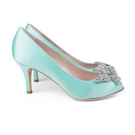 Farfalla Tiffany Blue Satin Open Toe Low Heel Bridal Shoes by Aruna Seth