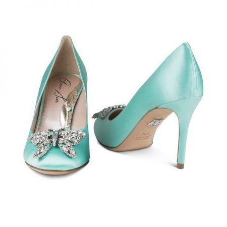 Farfalla Tiffany Blue Satin Round Toe Bridal Shoes by Aruna Seth