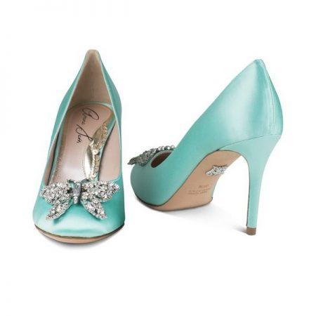 Farfalla Tiffany Blue Satin Round Toe Bridal Shoes by Aruna Seth